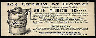 White Mt Ice Cream Freezer 1889 Ad