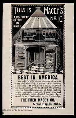 Arts Crafts Roll Top Desk Fred Macey 1896 Small Furniture Ad Grand Rapids
