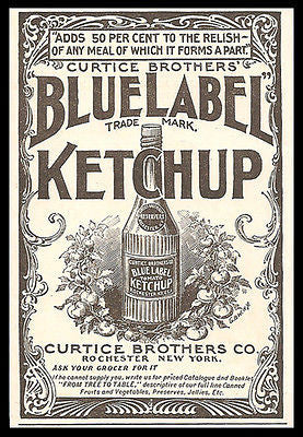 Blue Label Ketchup Tomato Condiment Food Beautiful Illustrated 1897 Ad