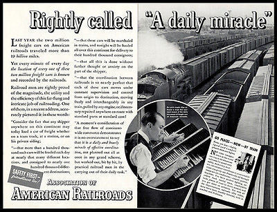 American Railroad 1937 Antique AD Occupational Recordkeeper Freight Cars 2 Pages