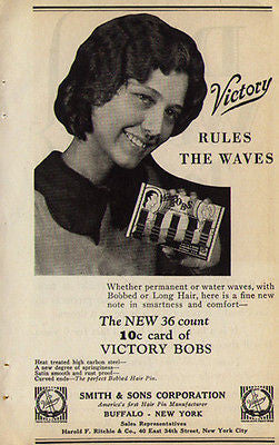 Bobbypins Water Waves Hairstyle Flapper Packaging Victory Bobs 1929 Merchants AD - Paperink Graphics