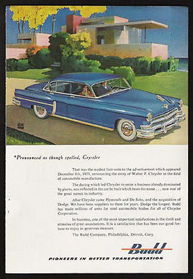 Chrysler Automobile Budd Blue Automobile 1953 Leslie Ragan Art Ad - Paperink Graphics