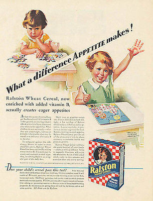 Frances Tipton Hunter Artist Toy Puzzle 1931 Ralston Wheat Cereal Graphic Art Ad - Paperink Graphics