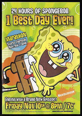Spongebob 2006 Ad Nickelodeon Marathon Television Animation Graphic Arts Design
