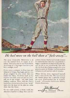 Christy Mathewson Baseball 1958 AD Pitching Mound Action John Hancock Insurance