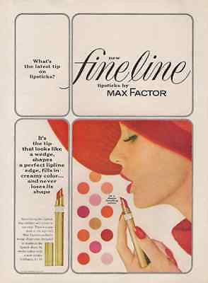 Lipstick Max Factor Fineline Lipstick 1962 Ad Wedge Tip Never Loses Shape - Paperink Graphics