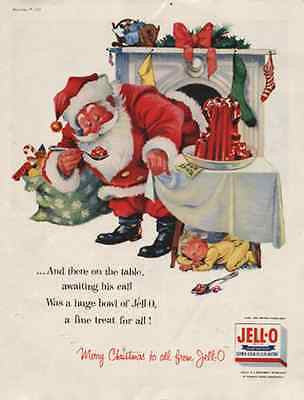 Santa Claus 1955 AD Finds Red Jello Snack Sleeping Toddler