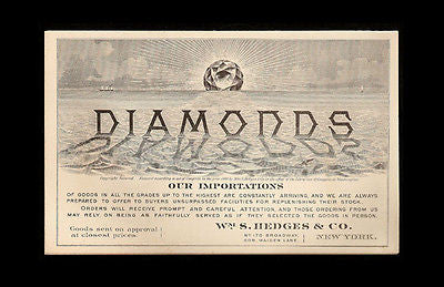 1880 Diamonds Advertising Trade Card Folder Wm. S. Hedges NY Diamond Importers
