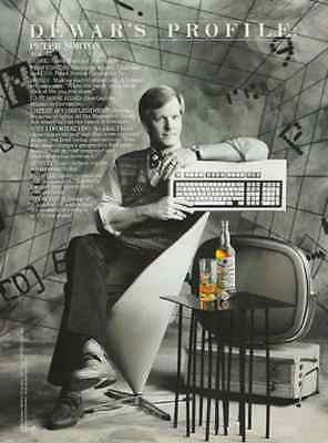 Dewars Peter Norton Profile Computing Wizard  Scotch Whiskey White Label 1988 AD
