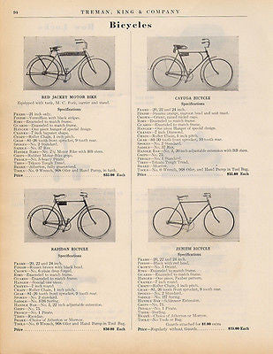 Bicycles Four Models 1915 Catalog Advertising Page Specifications Photo Ad