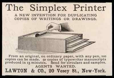 Simplex Printer New Invention for Duplicating Copies Writings Drawings 1893 AD