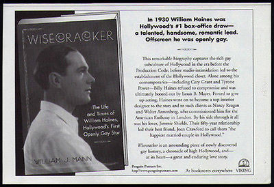 William Haines Hollywood's First Openly Gay Star 1998 Photo Ad