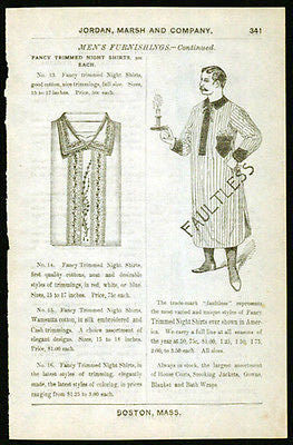 Antique Fashion Mens Night Shirt Gown Mustache Man Jordan Marsh 1892 Catalog AD
