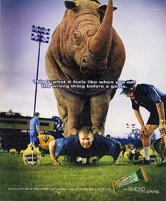 Rhino Football Player 2002 Gatorade Energy Bar AD