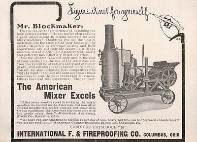 Concrete Mixer for Blocks 1906 Photo AD Columbus Ohio