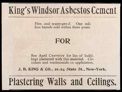 Asbestos Kings Windsor Asbestos Cement 1893 NY Ad Plaster Walls Ceilings