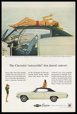 Caprice Chevrolet 1966 Bathing Beach Beauty Automobile Photo Ad