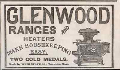 Glenwood Range Weir Stove Taunton Massachusetts Coal Wood 1895 AD