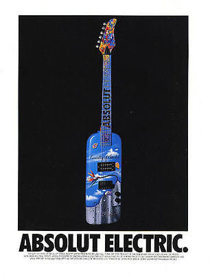Absolute Electric Guitar Country Of Sweden Rick Garcia 1992 Absolut Vodka Distillery Ad - Paperink Graphics