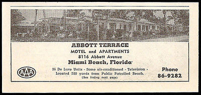 Abbott Terrace Motel Ad Miami Beach Florida AC TV 1953 Roadside Photo Ad Travel - Paperink Graphics