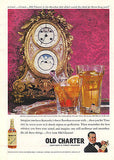 1959 Distillery AD French Calendar Clock Moon Phases Old Charter Bourbon AD - Paperink Graphics