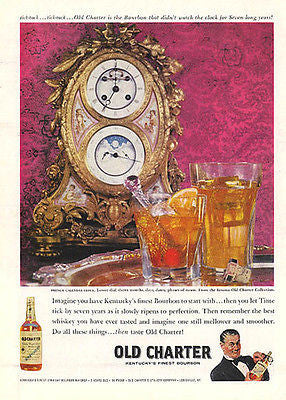 1959 Distillery AD French Calendar Clock Moon Phases Old Charter Bourbon AD