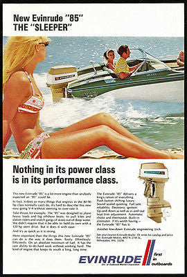Evinrude 85 Sleeper 80-90 hp V4 Outboard Designed for Skiers Photo 1969 Ad