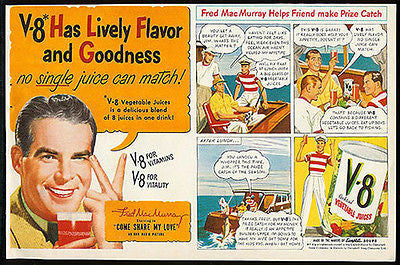 Fred MacMurray V-8 Juice Boating Comic Art 1950 Ad RKO Radio Picture Star
