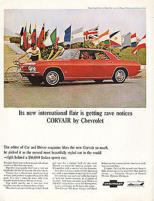 Corvair 1965 Regal Red Chevrolet  Monza Sport Sedan Ad Flags Bike Racing