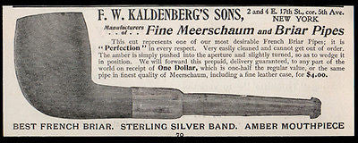 Meerschaum French Briar Tobacco Pipes Antique Ad 1896 F. W. Kaldenbergs Sons NY - Paperink Graphics