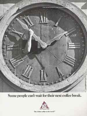 CLOCK 1989 Ad National Federation Coffee Growers - Paperink Graphics