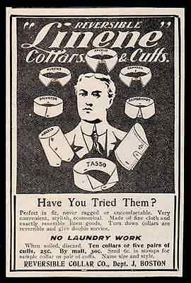 Collars Cuffs Mens Fashion Reversible Linene 1903 Accessory Ad - Paperink Graphics
