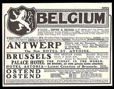 Belgium Travel 1911 AD Hotels Antwerp Brussels Ostend Lion Coat of Arms Hotel AD