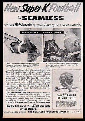 Super K Football Vintage 1960 AD Seamless Rubber Co. New Haven CT