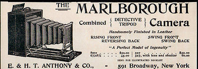 Anthony Marlborough NY Antique Camera Ad 1896 Folding Bellow - Paperink Graphics