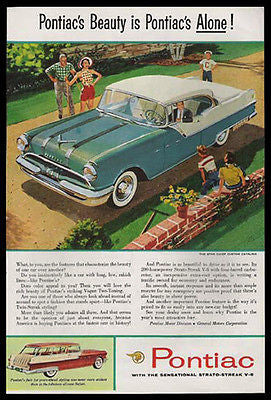 Pontiac Star Chief Custom Catalina 1955 White Walls Ad - Paperink Graphics