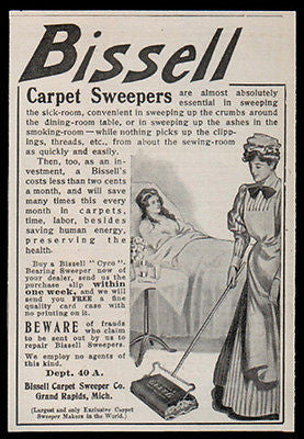 Bissell 1907 AD Carpet Sweeper Maid Sweeps Sickroom Mistress Watches Household