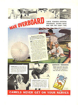 Camels Cigarettes Tobacco 1937 AD Sports Champions Ad Fencing Swim Parachute