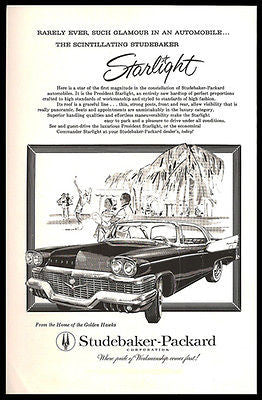 Studebaker President Starlight 2 Dr Luxury 1958 Print Ad Tennis Match - Paperink Graphics