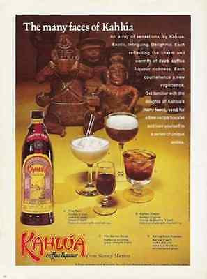 Kahlua Coffee Liqueur Recipes 1971 AD Mexico Pre-Columbian Figures AD