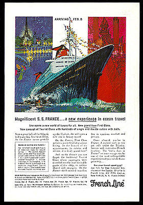 French Line Ocean Liner S.S. France 1962 Bob Peak Print Ad Graphic Arts