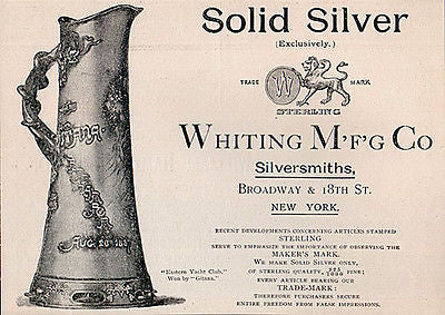 1888 AD Whiting Silversmiths Manufacturing Sterling Ewer Yacht Race GITANA - Paperink Graphics