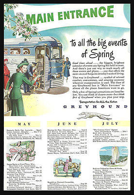 Greyhound Bus Transportation Ad 1948 Vintage Blue Chrome Magazine Advertisement - Paperink Graphics