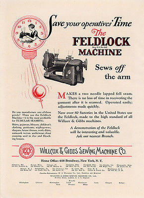 Wilcox Gibbs Sewing Machine New York Feldlock Machine 1926 Ad