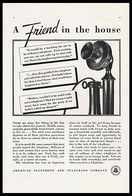 Candlestick Telephone A Friend In The House 1933 AT&T Early Communications Ad - Paperink Graphics