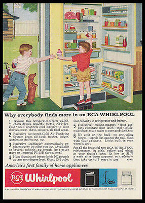 Dachshund DOG Ice Cream Yellow RCA Fridge 1959 Print Ad