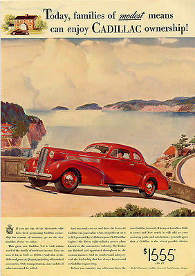 Cadillac Coupe 1937 Red V8 Magazine Advertisement Artist Malcolm Daniel Charleson