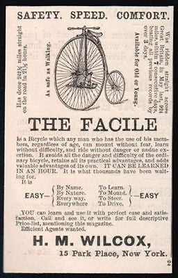 1885 High Wheeler Bicycle The Facile Illustrated AD - Paperink Graphics