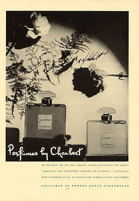 Charbert Perfume 1937 Gardenia and Carnation Perfume Bottle Ad