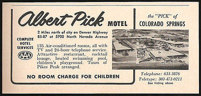 Albert Pick Motel Ad Colorado Springs  Colorado 1964 Roadside Photo Ad Travel - Paperink Graphics